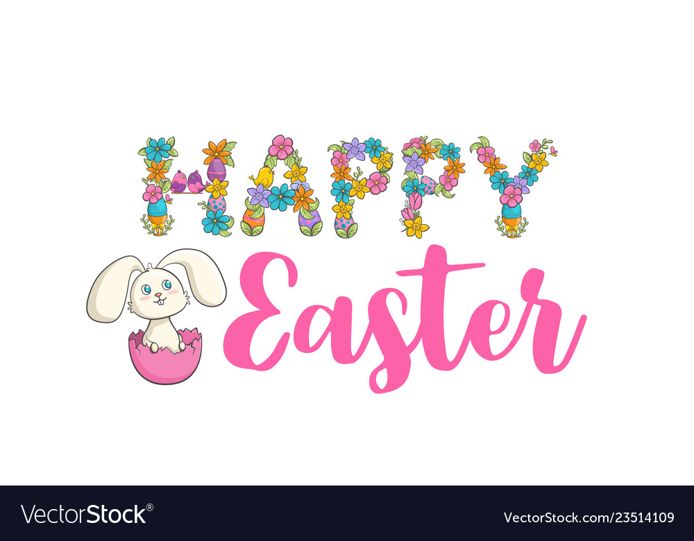 Easter christian church festival card with cute