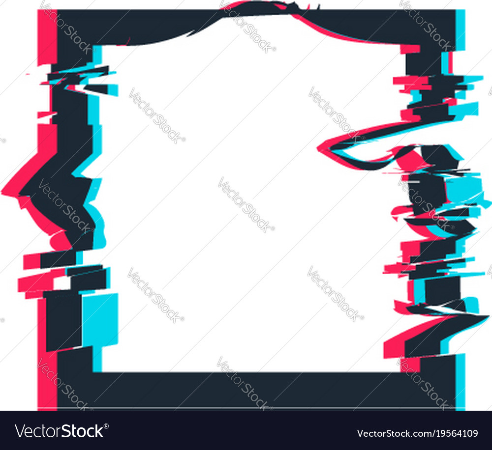 Glitch Distortion Frame Square Royalty Free Vector Image