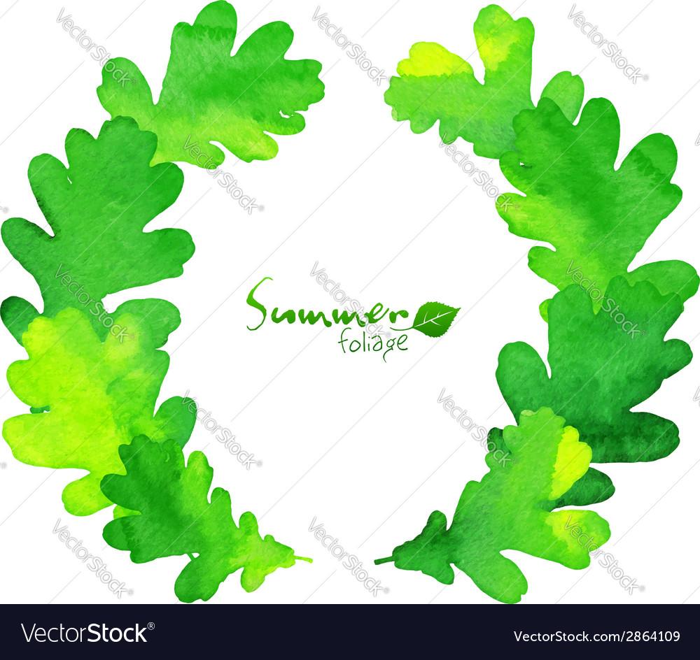 Green watercolor oak leaves wreath