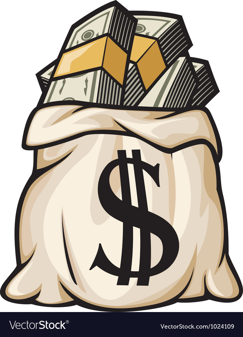 Bag With Money Sign Cartoon: Money Bag With Dollar Sign Royalty Free Vector Image