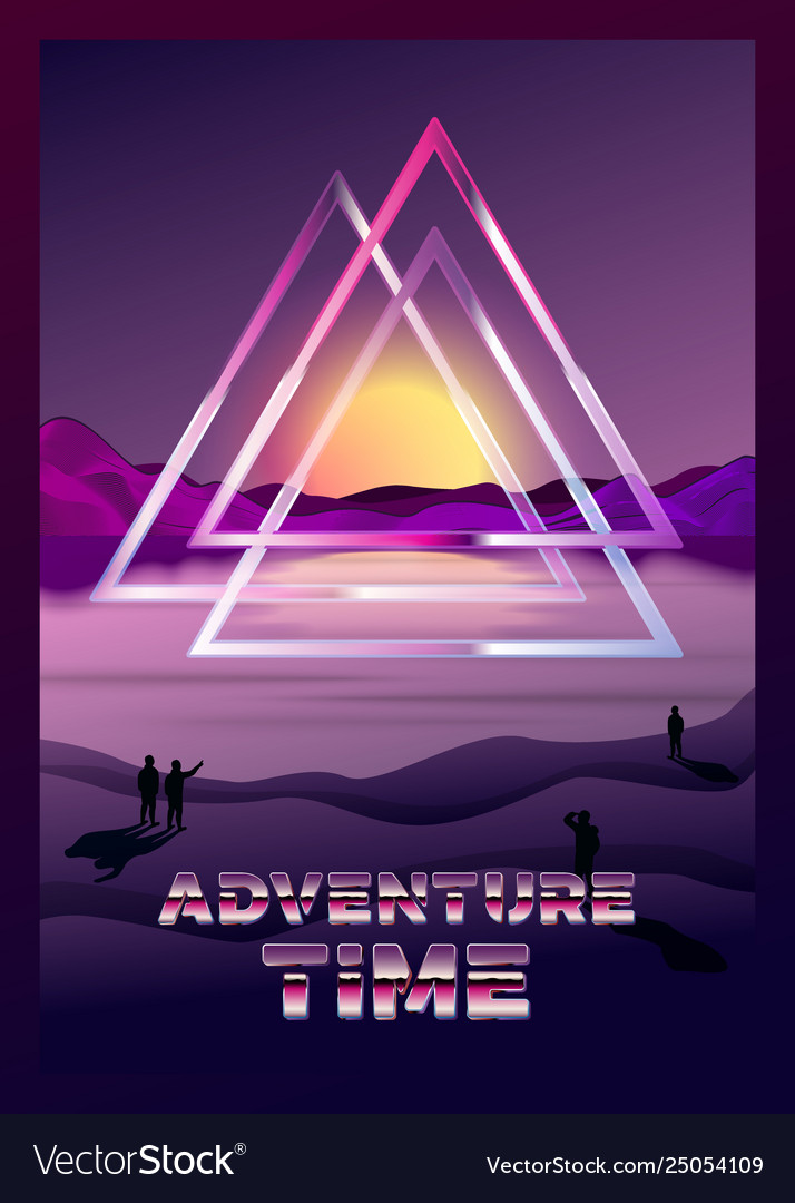 Poster template in 80s retro futurism style