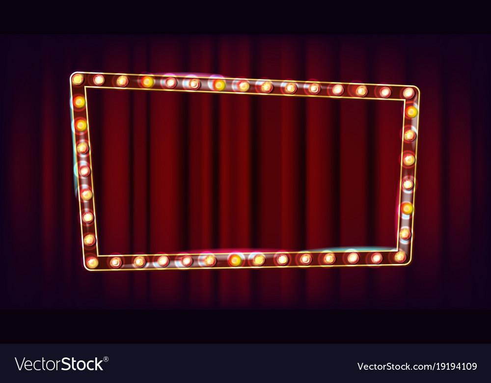 Retro billboard shining light sign board vector image