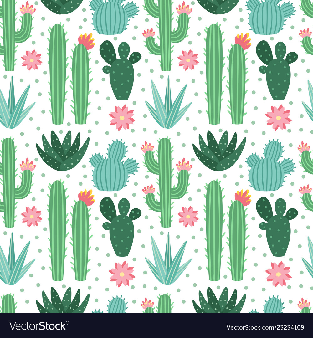 Seamless cactus pattern exotic desert cacti