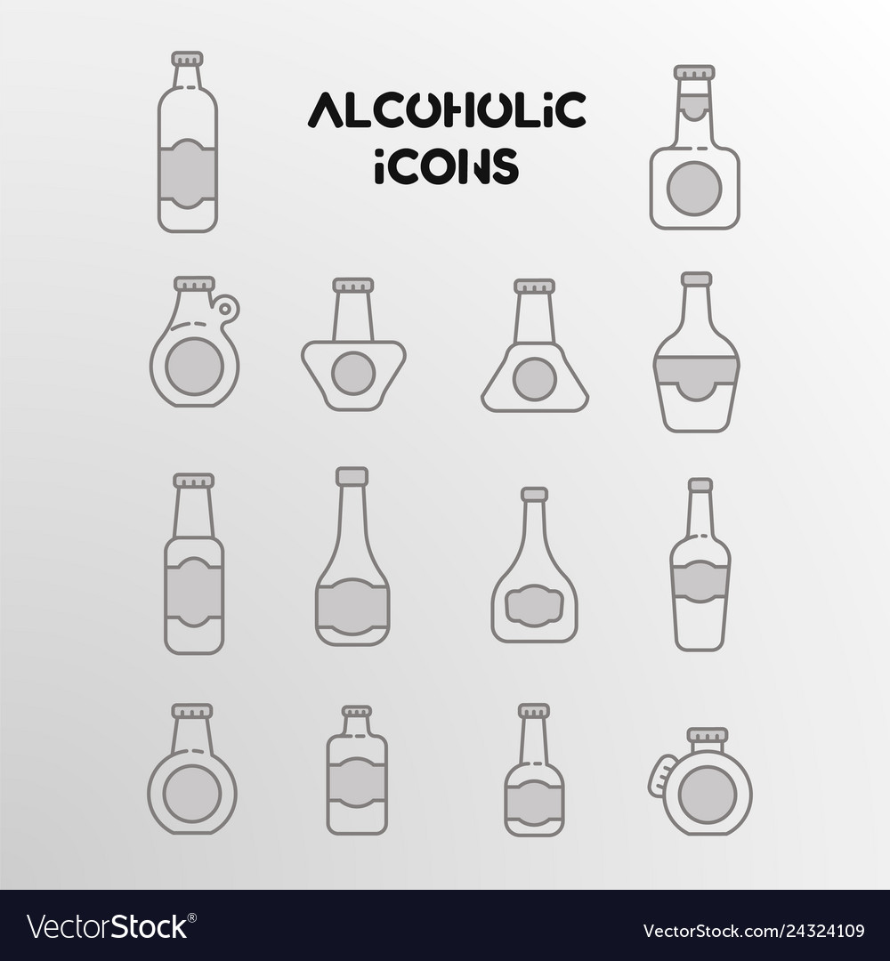 Set linear icons alcohol bottles