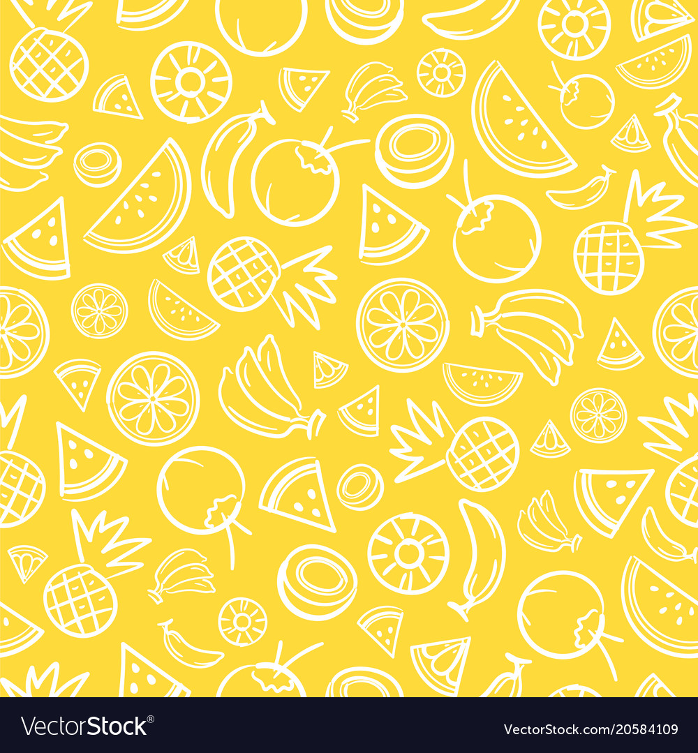 Sketch mixed tropical fruits seamless pattern