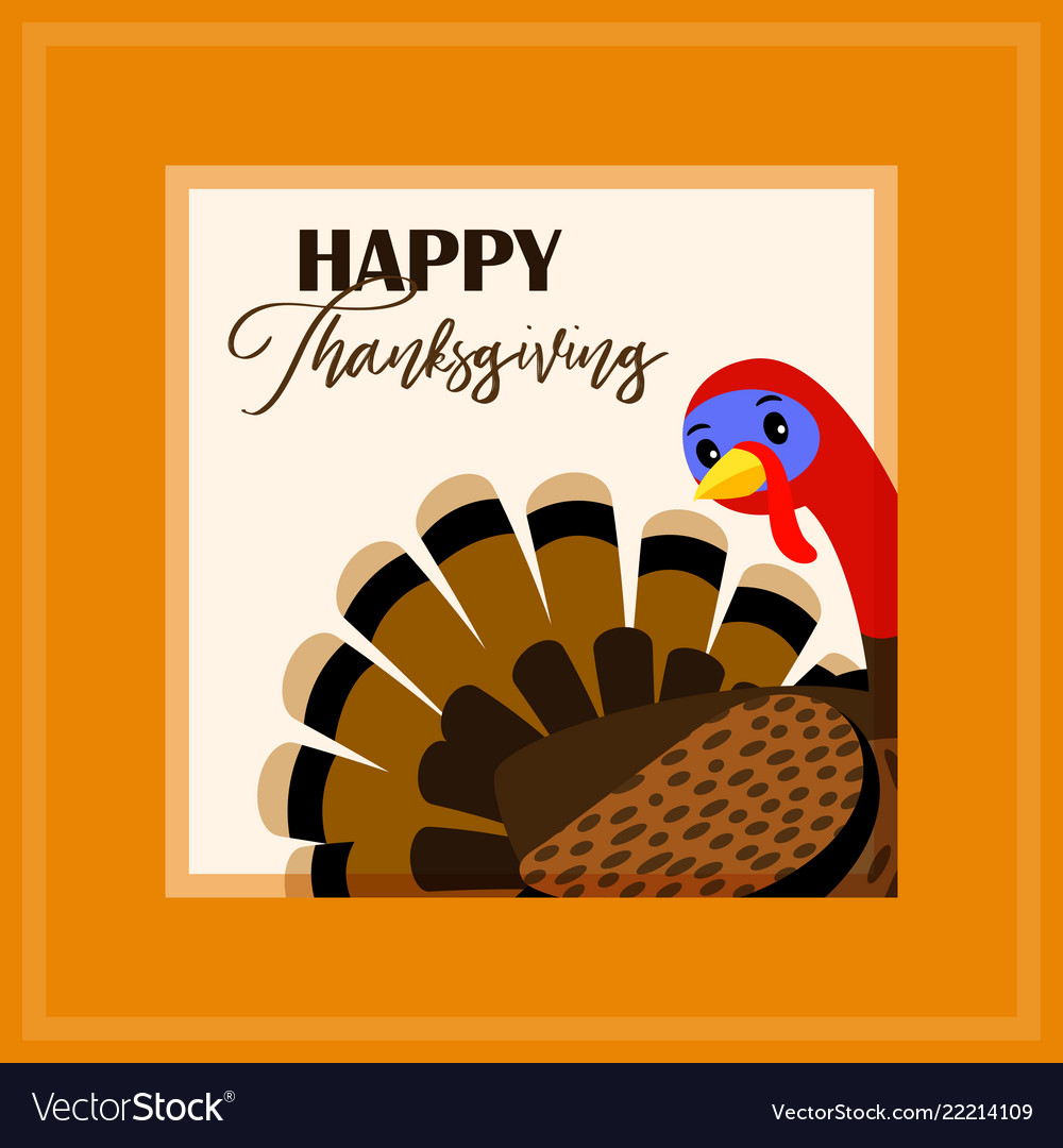 Thanksgiving day card with turkey