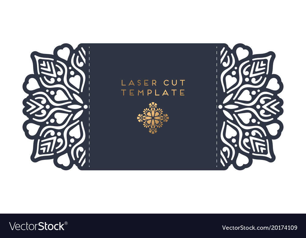 Wedding card laser cut template Royalty Free Vector Image