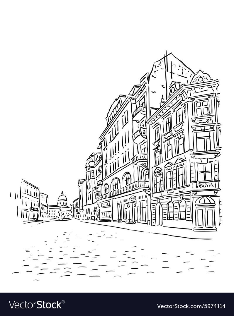 Antique European street sketch