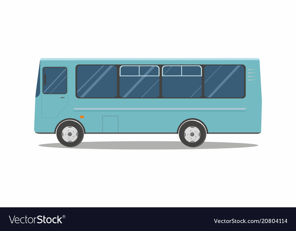Aqua blue bus isolated on white background