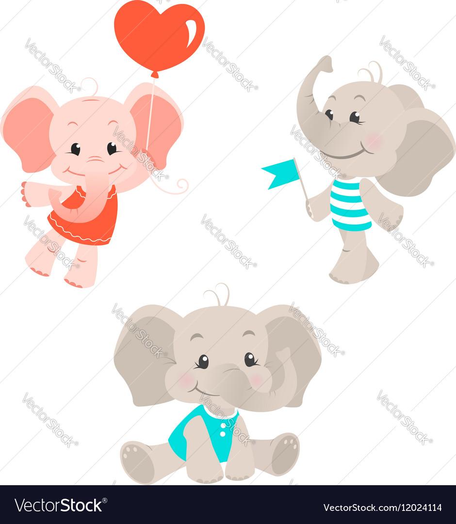 Baby elephant cartoon characters set