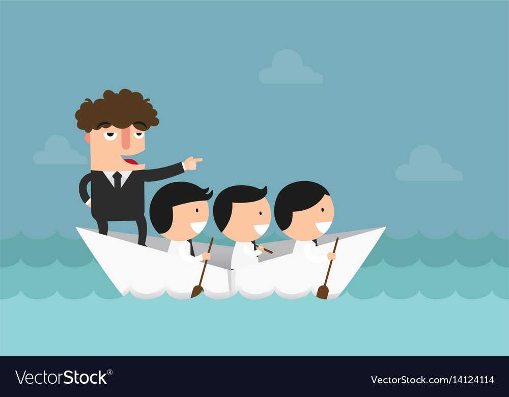 Businessmen rowing the boat teamwork success
