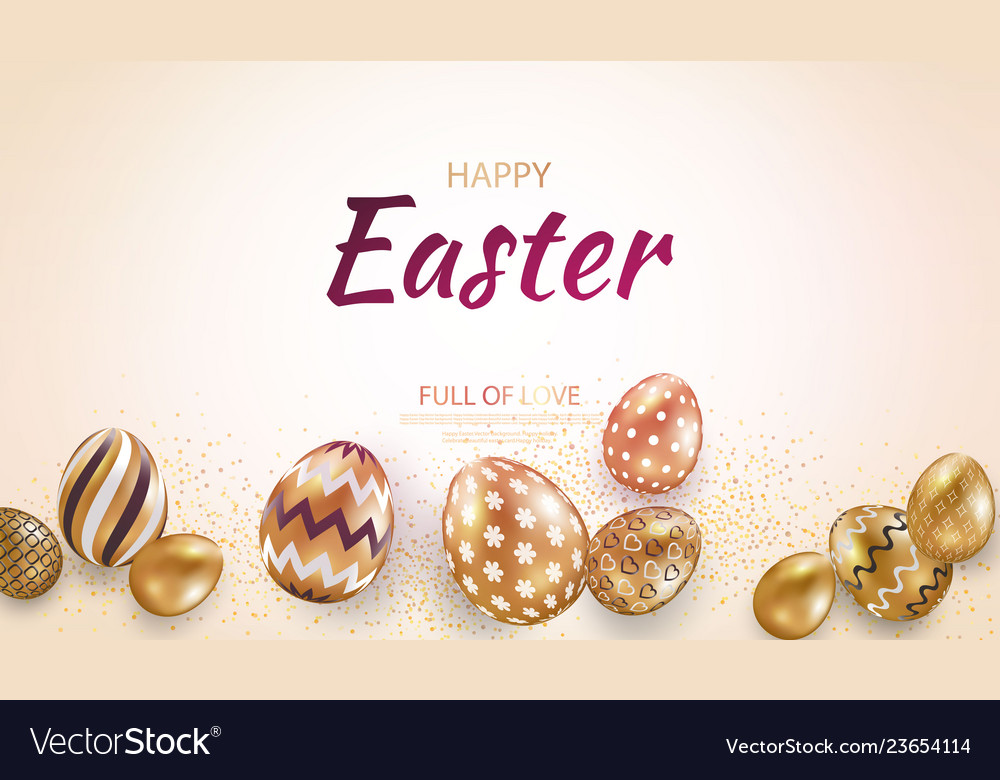 Easter card with gold ornate golden eggs on a