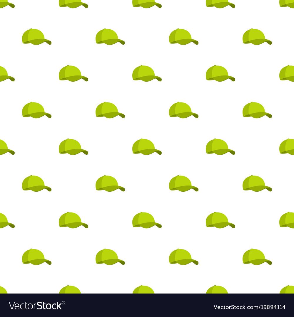 Green baseball cap pattern seamless