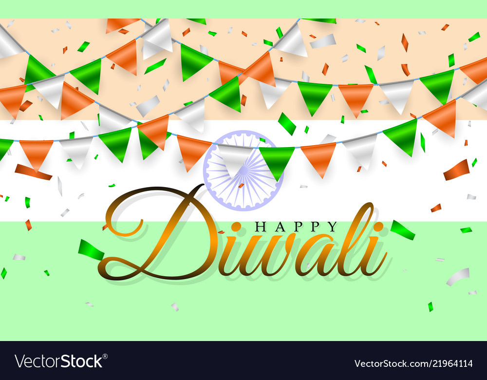 Happy diwali indian flags garland india flag and