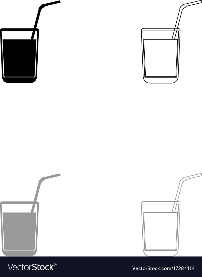 Juice glass with drinking straw set icon