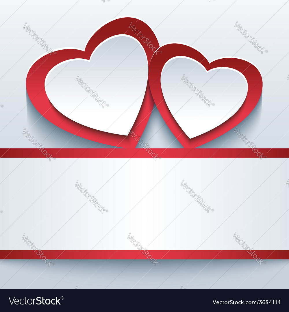 Love grey background with two 3d hearts