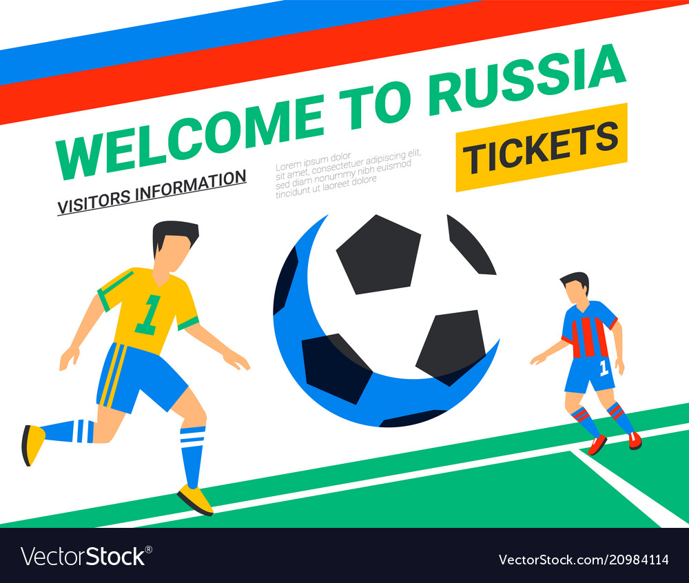 Soccer players with football ball welcome to