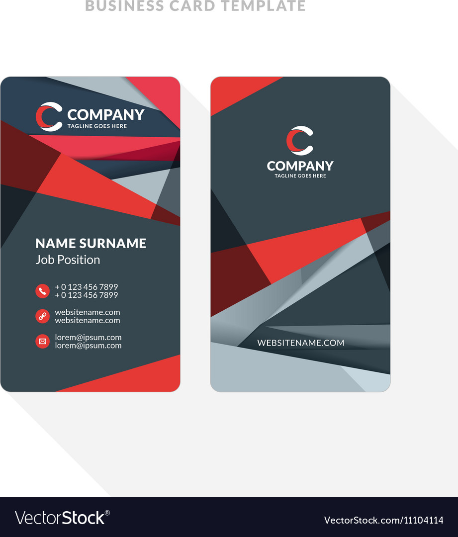 vertical double sided business card template with vector image