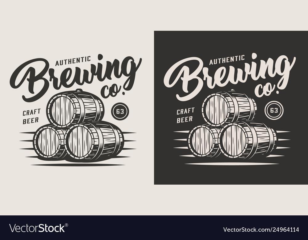 Vintage monochrome brewery label