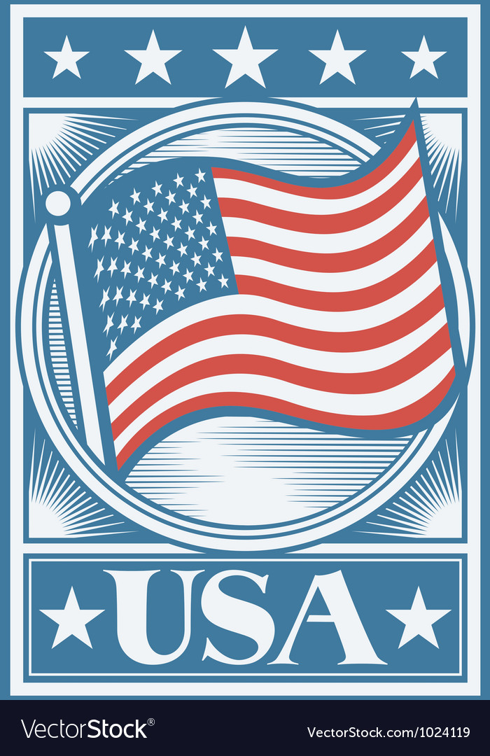 American Flag Poster vector image