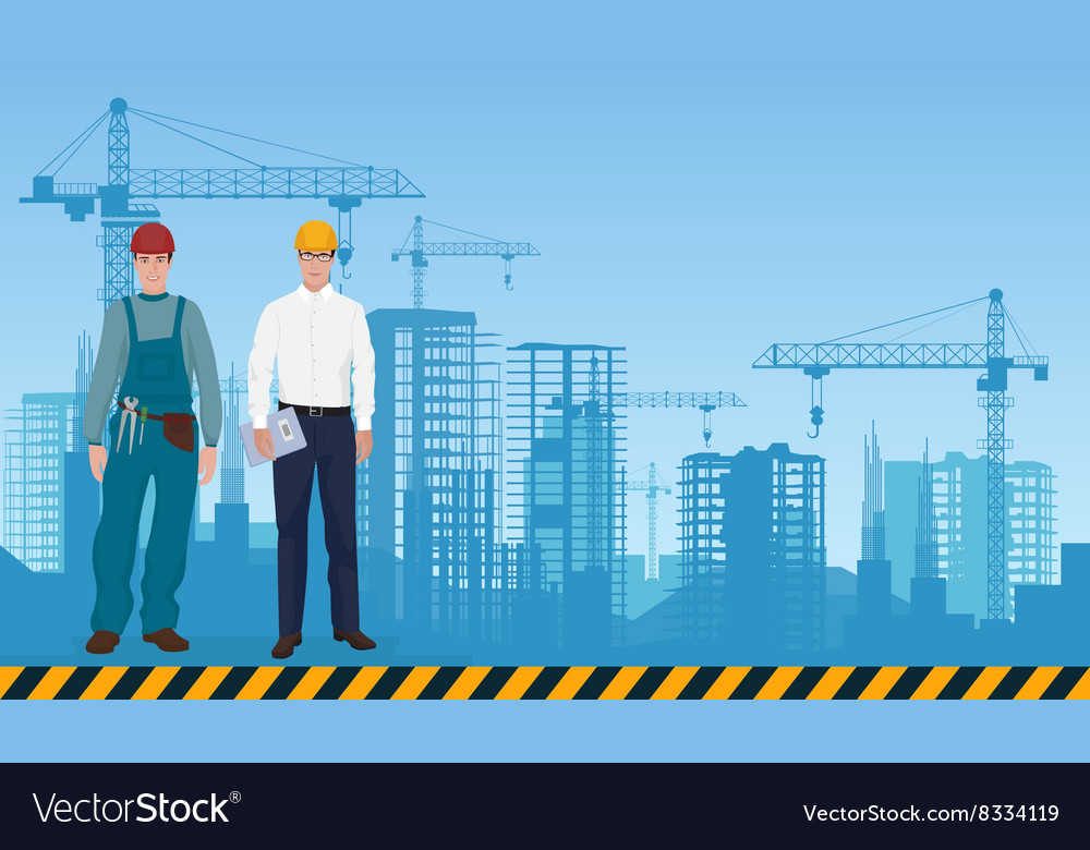 Builder man manager architect and worker on the