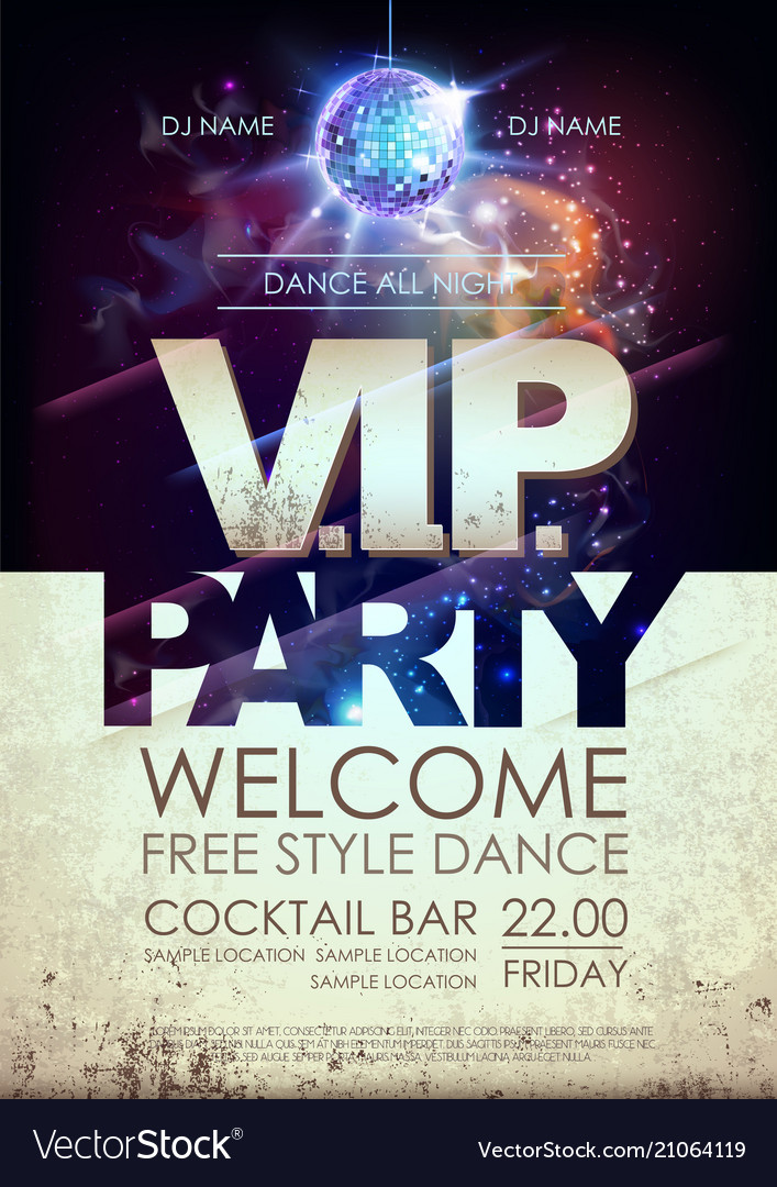 Disco ball background disco vip party poster