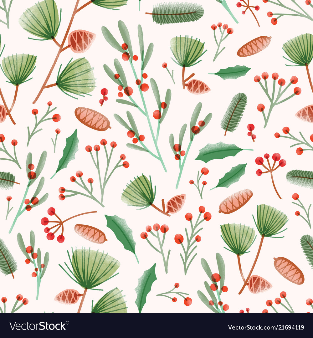 Holiday seamless pattern with holly leaves