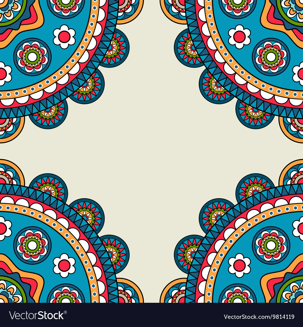 Indian rossetes doodle hippie frame vector image