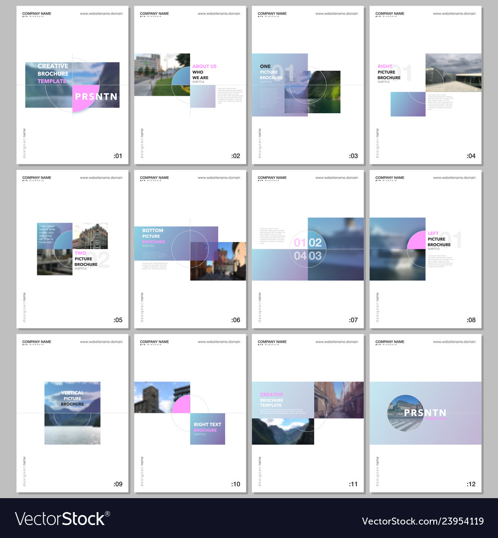 Minimal brochure templates with colorful gradient