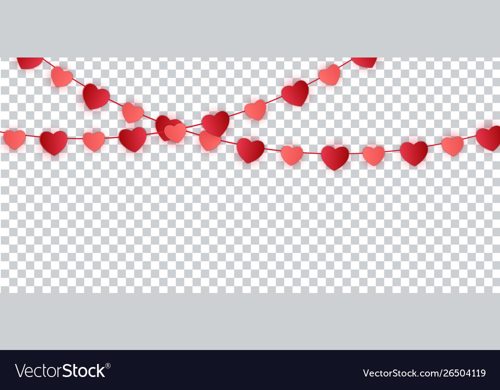 Red paper hearts garland for valentines day card
