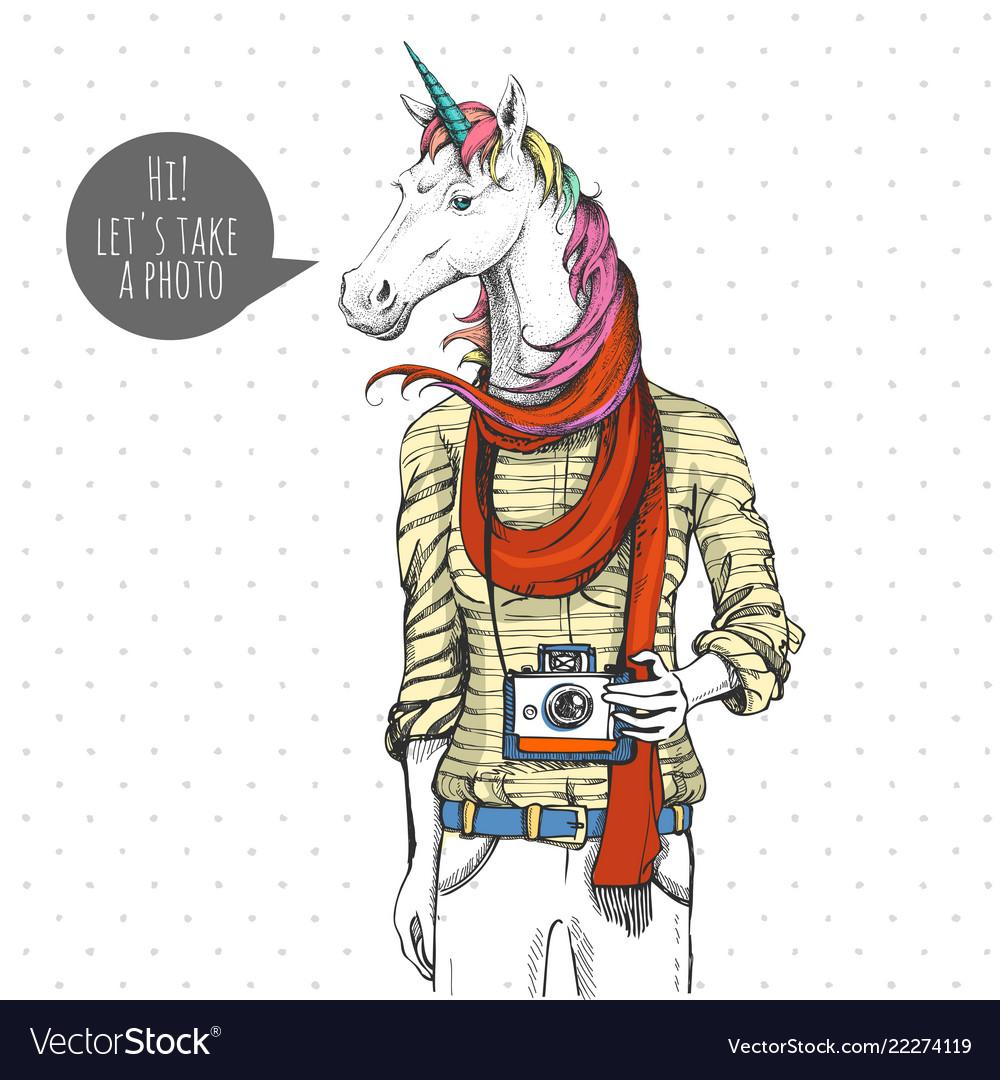 Retro hipster fashion fantasy animal unicorn