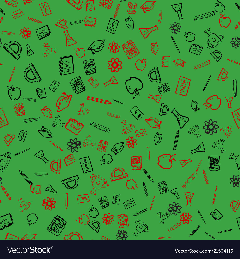 Seamless pattern with school things