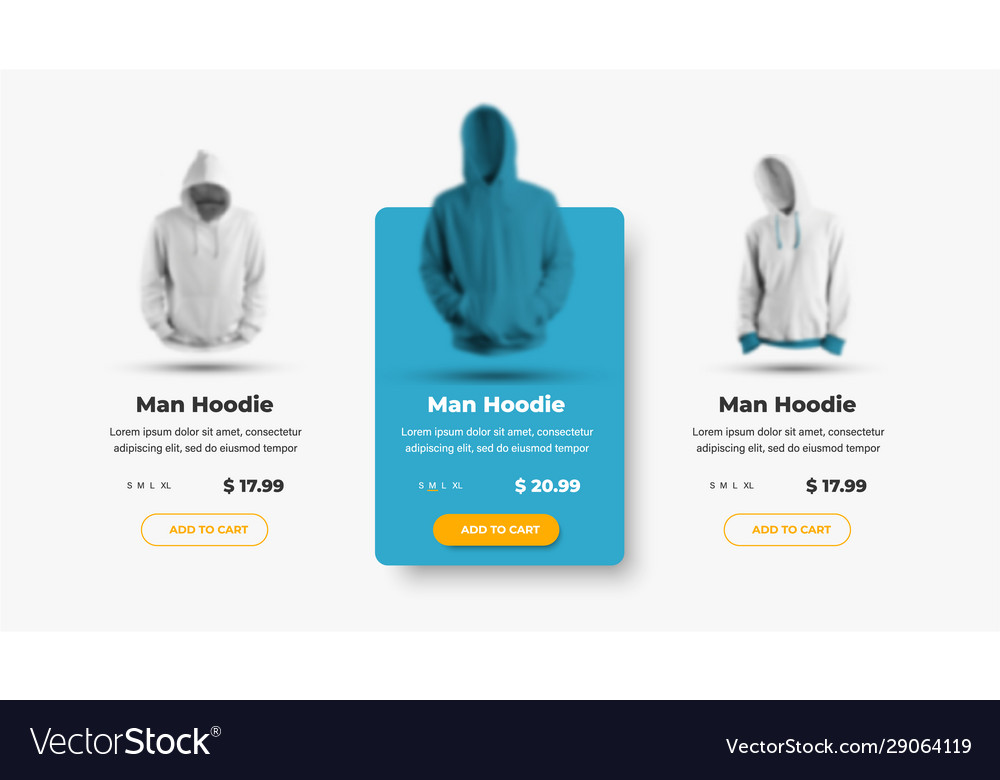 Set product card templates for online clothing