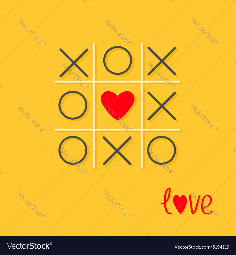 Tic tac toe game with cross and red heart sign vector image