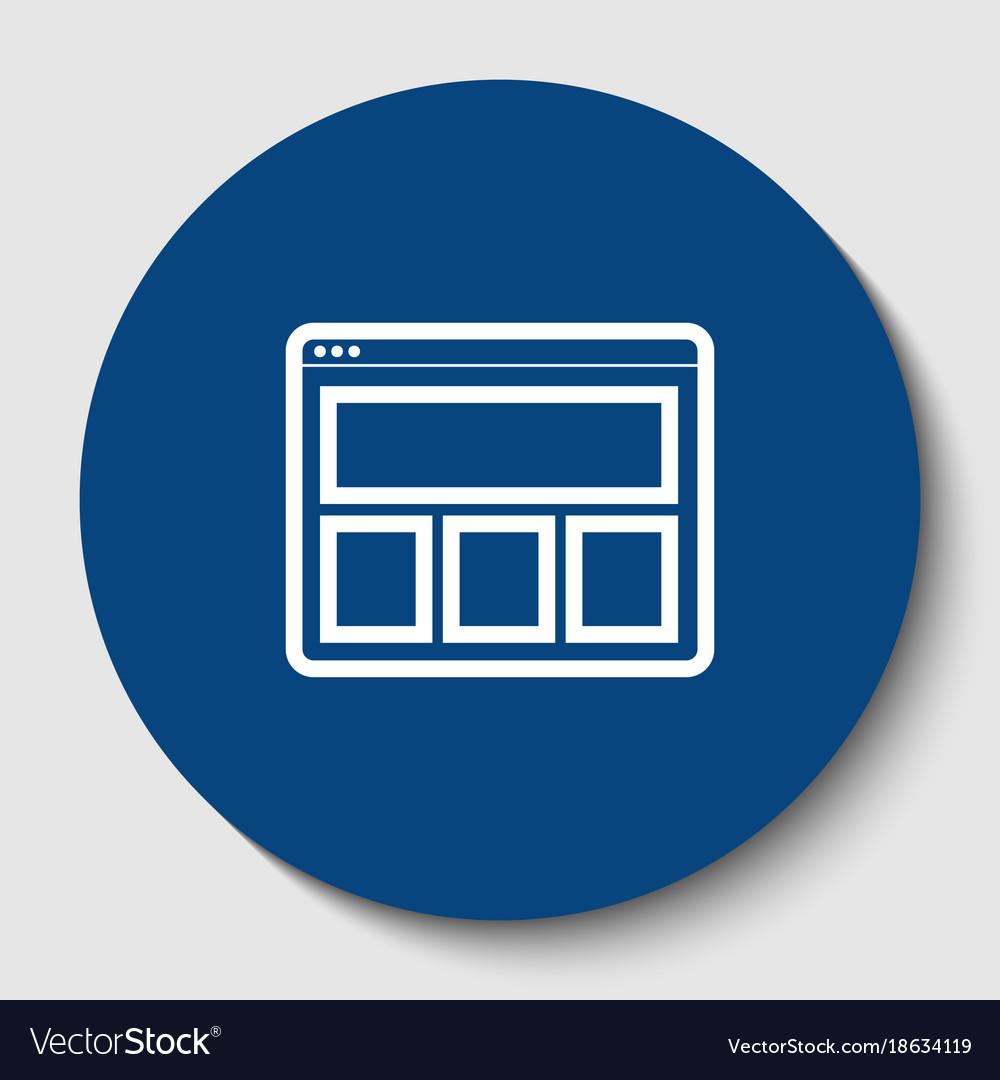 Web window sign white contour icon in
