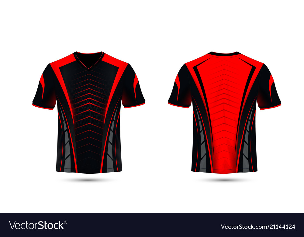 b3fd794d0353 Black and red layout e-sport t-shirt design Vector Image