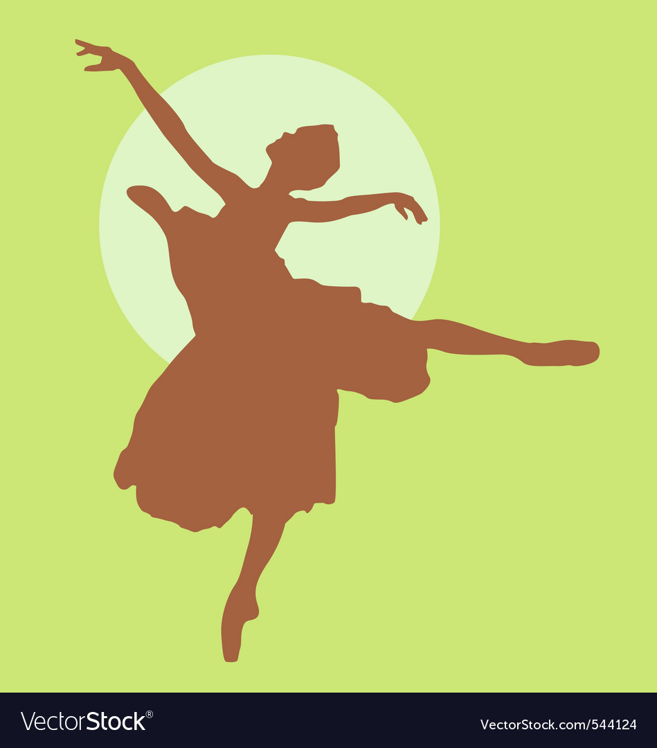 Dancing ballerina silhouette light brown on green vector image
