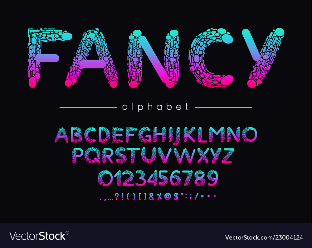 Fancy font and alphabet type with colorful