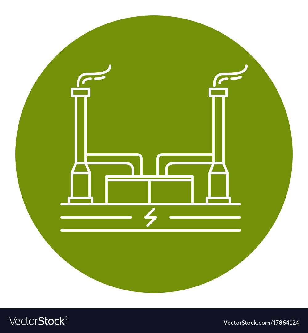 Geothermal Power Plant Icon In Thin Line Style Vector Image Diagram