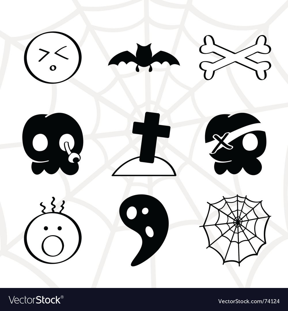 Horror icons vector image