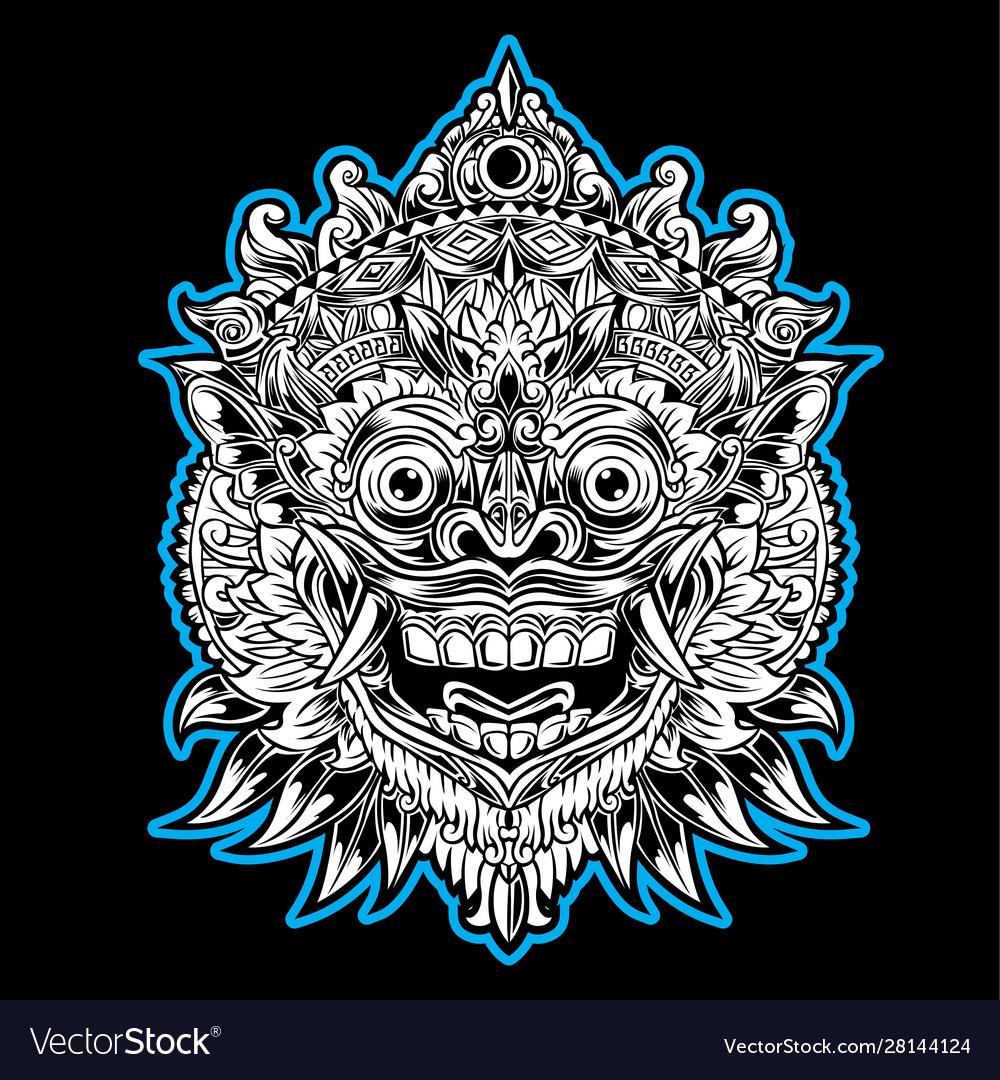 indonesian bali mask art barong royalty free vector image vectorstock