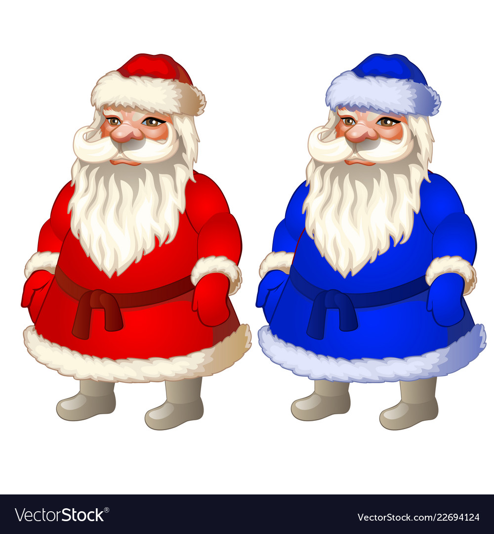 Set animated santa claus in red and blue