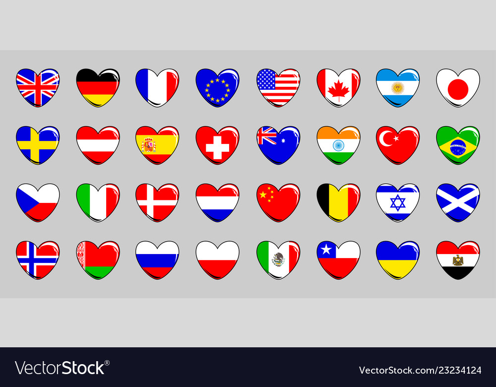 Set of 32 flags of different countries in the