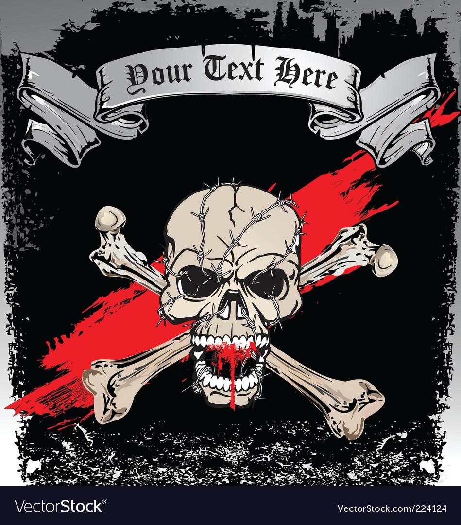 Skull bones tattoo vector image