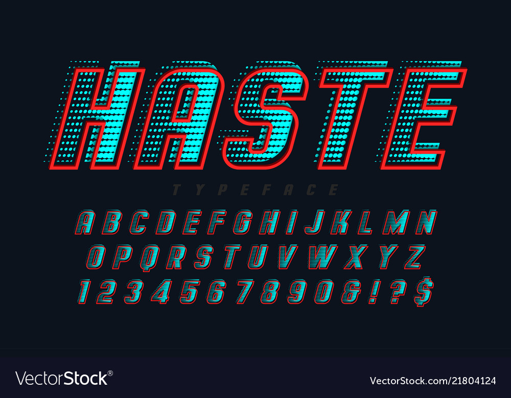 Speedy display font design alphabet letters and