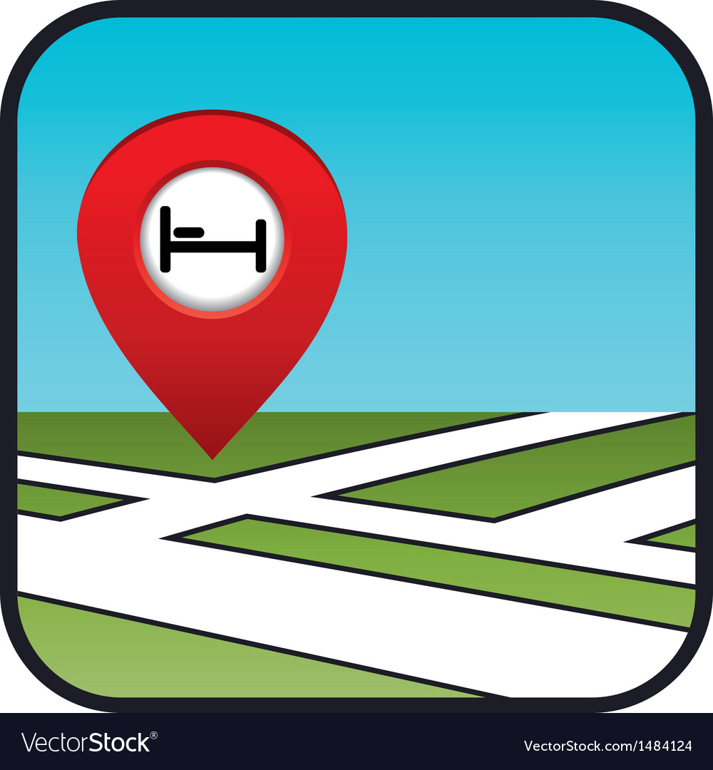 Street map icon with the pointer hotel vector image