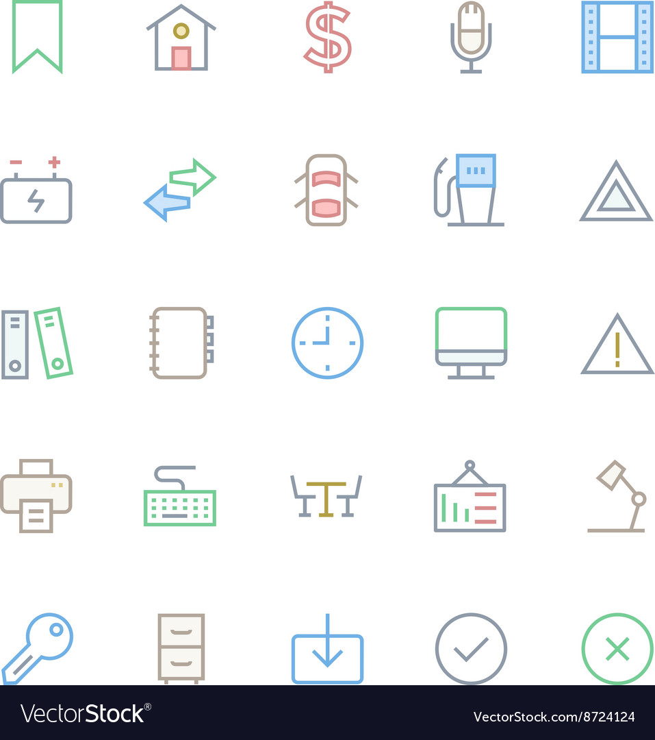 User Interface Colored Line Icons 10