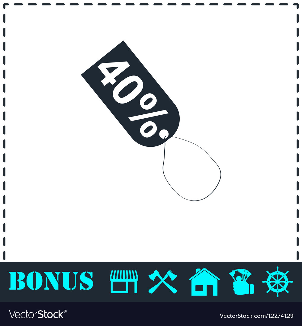 40 percent discount icon flat