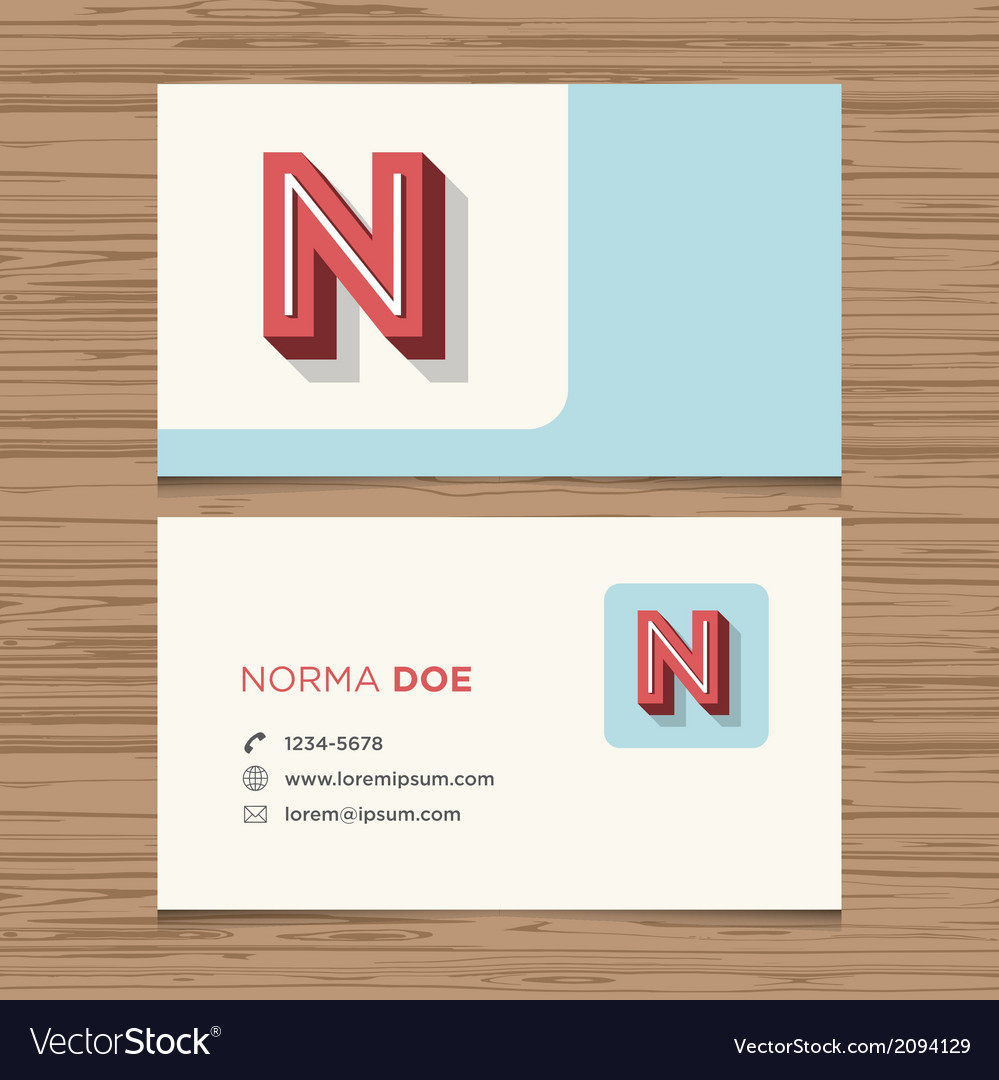 Business card letter N