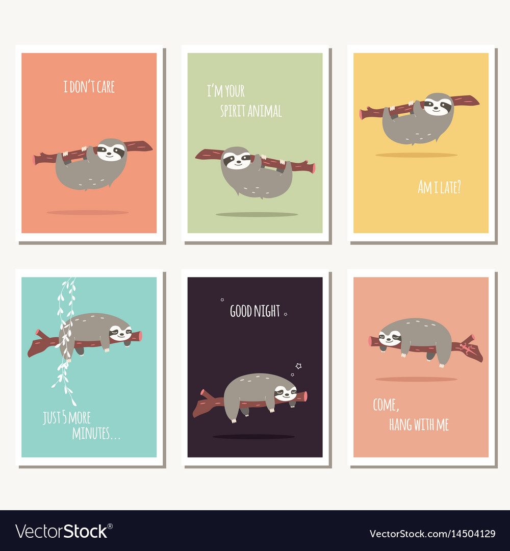 Collection Of Six Greeting Cards With Cute Sloth Vector Image